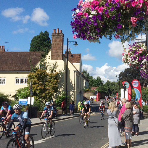 Photo of cyclists on Ride London going up West Street Dorking
